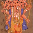 Panchamukhi Ganesha Painting Handmade Miniature Indian Hindu Old Postcard Art