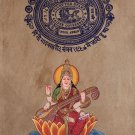 Saraswati Hindu Goddess Art Handmade Watercolor Folk Painting on Old Stamp Paper