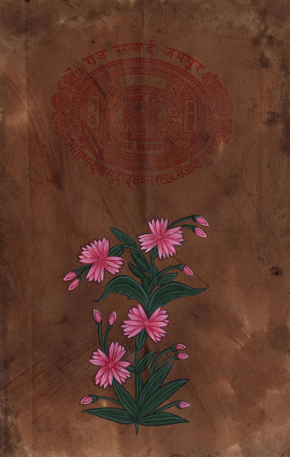 Indian Floral Miniature Artwork Handmade Old Stamp Paper Mughal Flower Painting