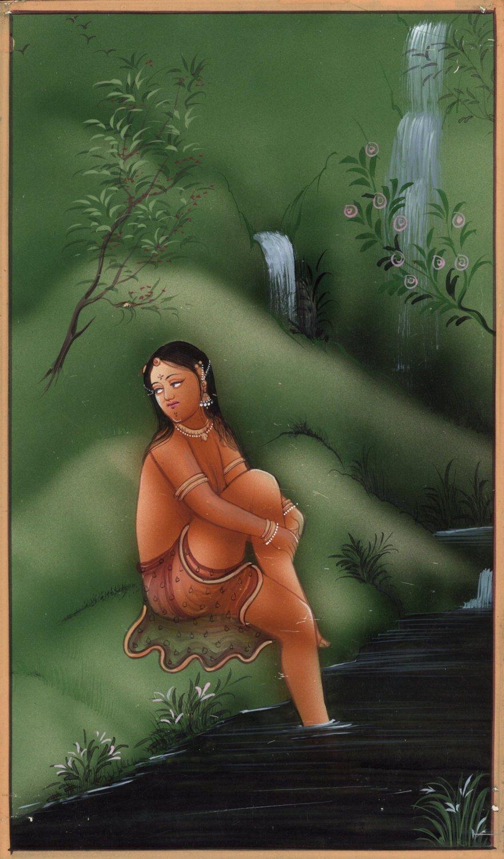 India Miniature Painting Handmade Nude Erotic Portrait Watercolor Ethnic Artwork