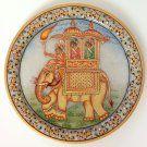 Mughal Emperor 9 in. Marble Plate Art Handmade Floral Indian Home Decor Painting