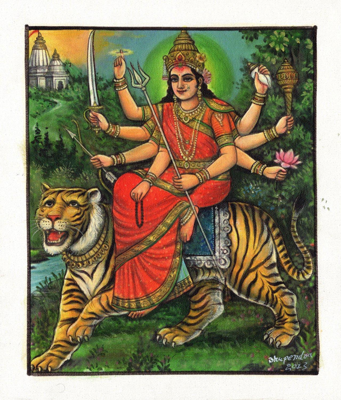 Durga Ma Devi Hindu Goddess Handmade Painting India Religion Spiritual Artwork