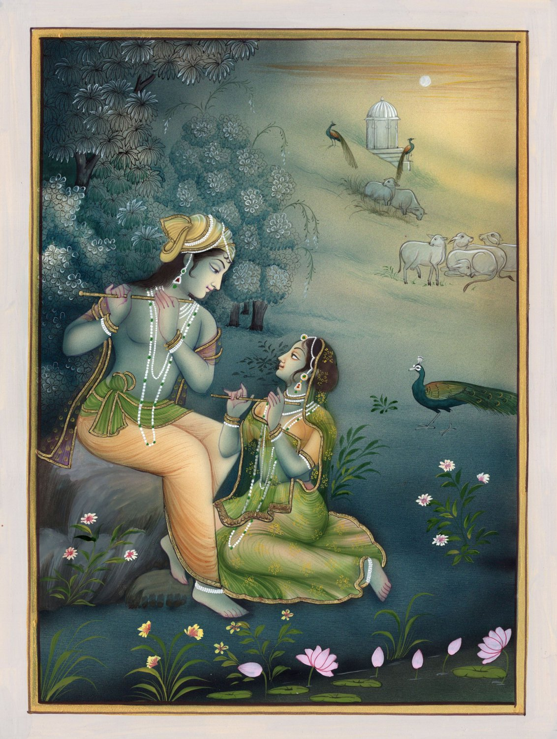 Krishna Radha Handpainted Image Indian Hindu Religious God Goddess Folk Artwork