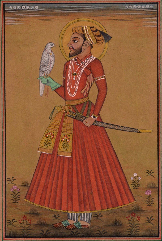 Mughal Miniature Painting of Emperor Shah Jahan Handmade India Folk Portrait Art