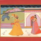 Kota Art Handmade Indian Miniature Maharajah Maharani Rajasthani Folk Painting