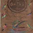 Indian Peacock Bird Miniature Artwork Handmade Stamp Paper Nature Painting