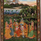 Krishna Radha Ethnic Art Handmade Indian Hindu Folk Religion Miniature Painting