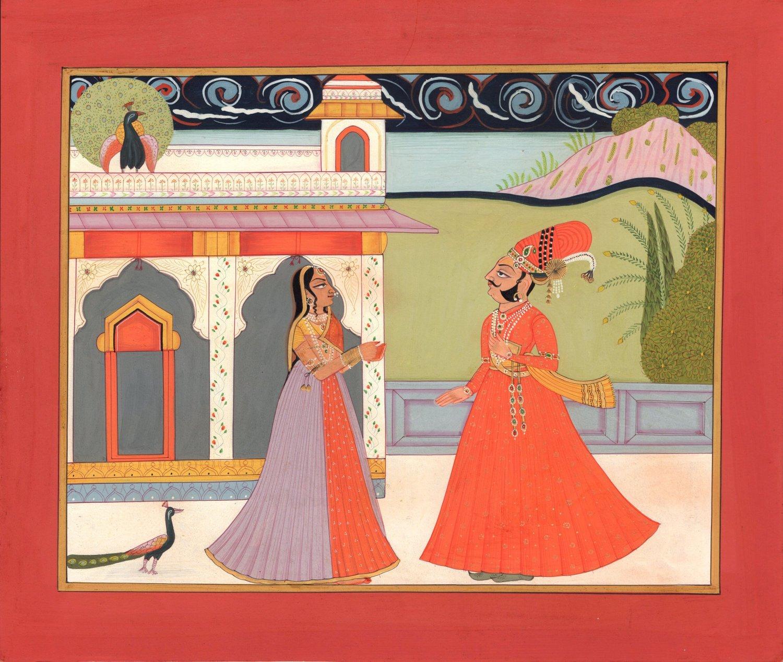 Kota Rajasthani Painting Handmade Indian Miniature Rajput Maharajah Ethnic Art