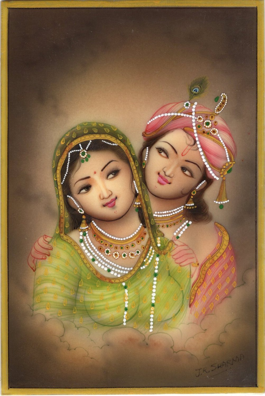 Krishna Radha Miniature Handmade Art Indian Ethnic Hindu Watercolor Painting