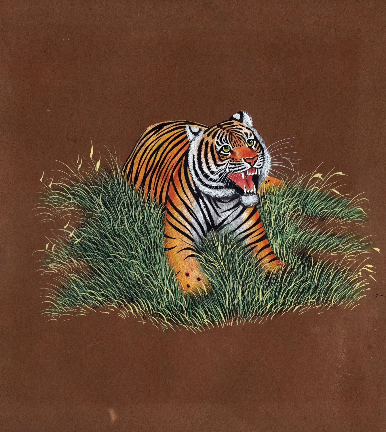 Bengal Tiger Painting Handpainted Indian Wildcat Animal Watercolor Miniature Art