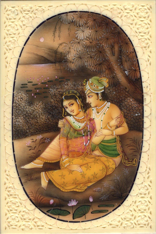 Radha Krishna Hindu Miniature Art Handmade Indian Spiritual Romance God Painting