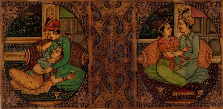 Indian Miniature Painting Handmade Mughal Empire Mogul Harem Watercolor Folk Art