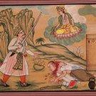 Shiva Painting Handmade Indian Miniature Hindu Deity Demon Religion Folk Art