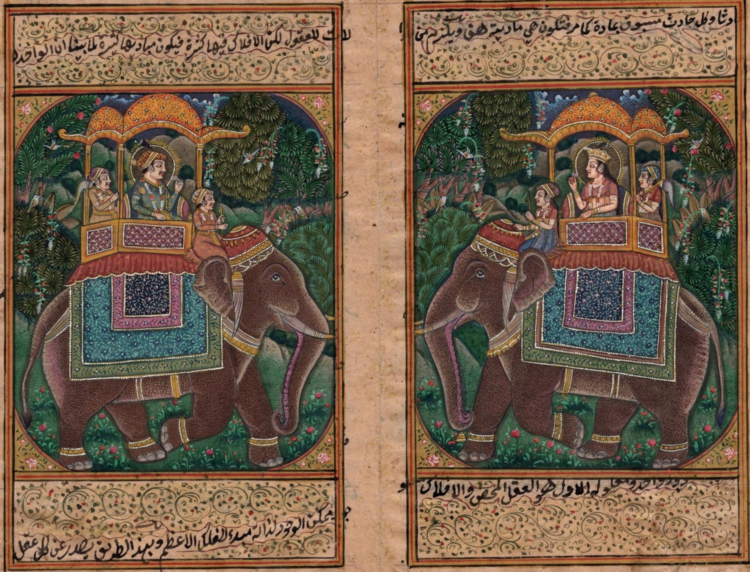 Mughal Miniature Painting Handmade Illuminated Manuscript Indian Elephant Art