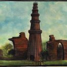 Qutab Minar Painting Handmade Wonder of India Minaret Monument Canvas Oil Art