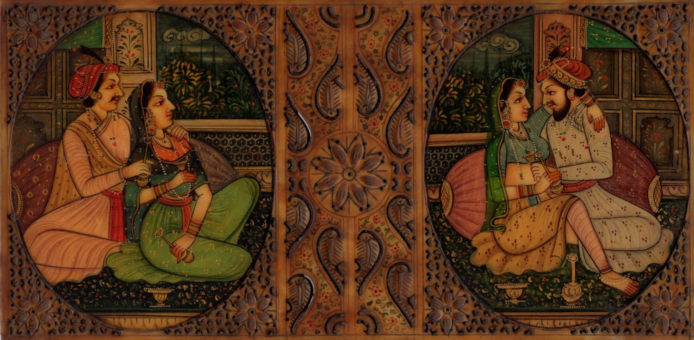 Indian Miniature Painting Handmade Antique Finish Mughal Emperor Portrait Art