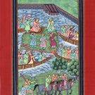 Mughal Emperor Painting Rare Handmade Indian Moghul Dynasty Miniature Ethnic Art