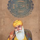 Sikh Guru Nanak Dev Art Handmade Punjab Sikhism Religion Stamp Paper Painting