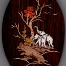 Mysore Inlay Elephant Art Handmade Indian Miniature Rosewood Wall Hanging Decor