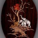 Mysore Inlay Elephant Art Handmade Indian Miniature Rosewood Wall Hanging Decor