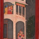 Kangra School Love Painting Handmade Indian Miniature Krishna Radha Pahari Art