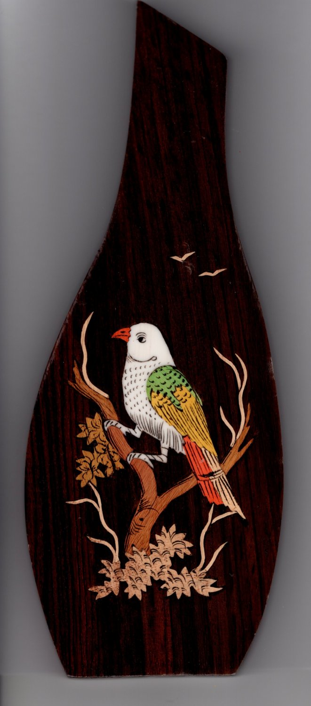 Mysore Bird Inlay Art Handmade Indian Miniature Rosewood Wall Hanging Decor