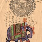 Elephant Indian Miniature Painting Handmade Vintage Stamp Paper Ethnic Decor Art
