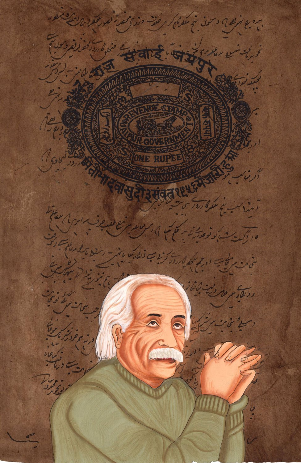 Albert Einstein Painting Handmade Indian Miniature Old Stamp Paper Portrait Art