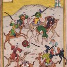 Persian Miniature Painting Handmade Indo Islamic Illuminated Battle Ethnic Art