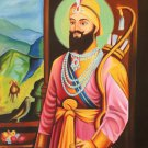 Sikh Art Handmade Guru Gobind Singh Oil on Canvas Indian Ethnic Punjab Painting