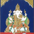 Tanjore Ganesha Painting Handmade Indian Thanjavur Hindu God Religious Decor Art