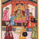 Mughal Empire Court Painting Illustrated Miniature Islamic Manuscript Durbar Art