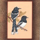 Indian Bird Miniature Art Handmade Watercolor Ethnic Folk Feather Pair Painting