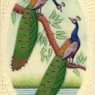 India Peacock Art Handmade Blue Green Feather Watercolor Wild Life Bird Painting