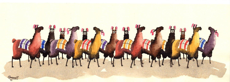 Peru Llama Painting Handmade South American Animal Miniature Watercolor Art