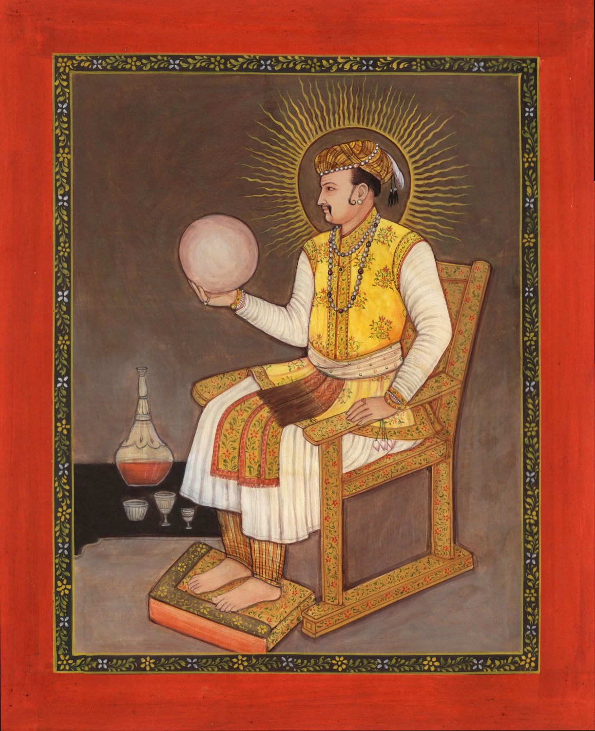 Jahangir Mughal Emperor Painting Handmade Indian Mogul Miniature Portrait Art