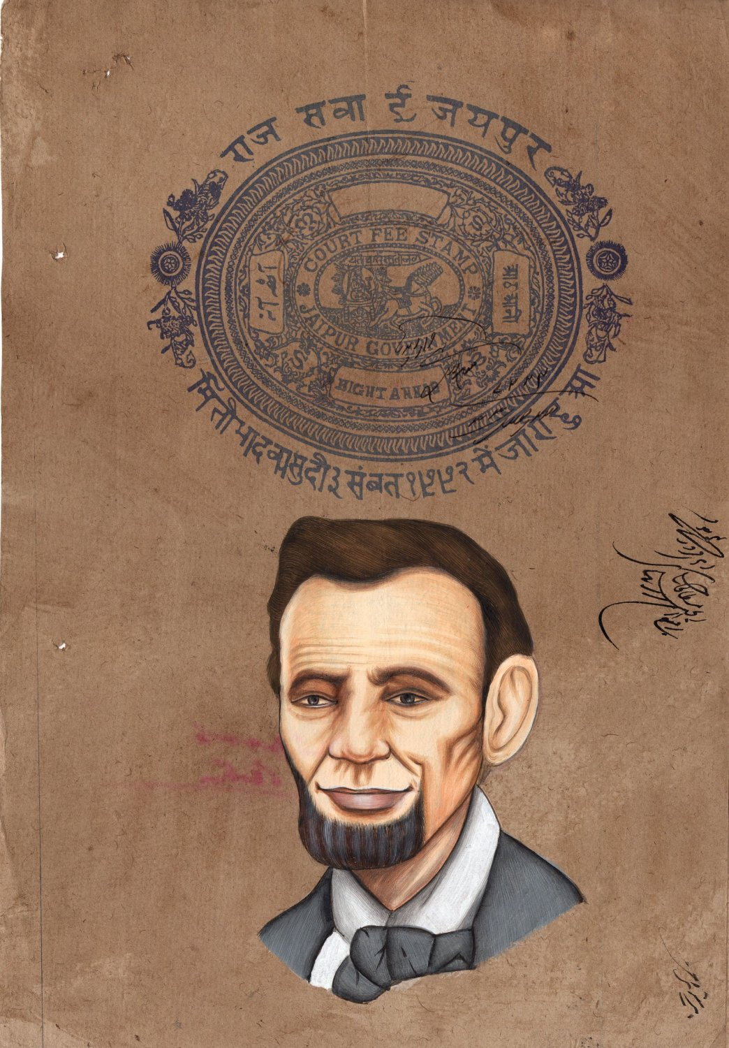 Abraham Lincoln Painting Handmade Indian Miniature Old Stamp Paper Portrait Art