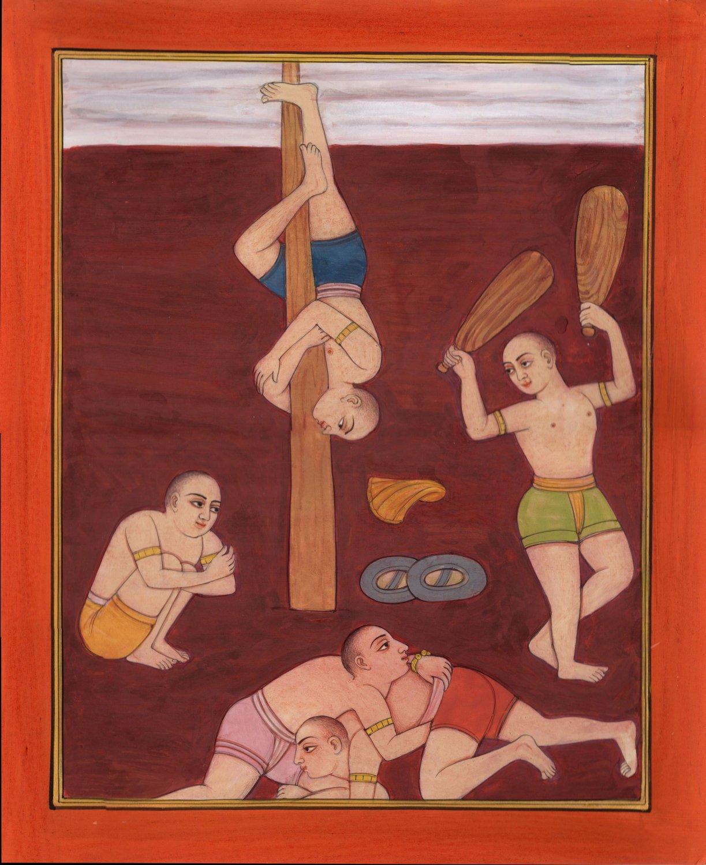 Yoga Bodybuilding Art Handmade Indian Miniature Metaphysical Decorative Painting