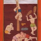 Yoga Bodybuilding Art Handmade Indian Miniature Metaphysical Decorative Painting