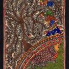 Madhubani Flora Fauna Art Handmade Indian Tribal Folk Mithila Decor Painting