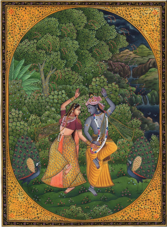 Krishna Radha Cosmic Dance Art Handmade Indian Miniature Hindu Krishn Painting
