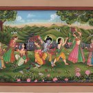 Krishna Radha Balarama Art Handmade Indian Miniature Religious Folk Painting