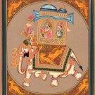 India Miniature Painting Rajasthani Maharaja Elephant Ethnic Folk Procession Art