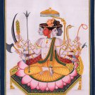Sadashiva Art Handmade Five Headed Shiva Indian Hindu Deity Watercolor Painting