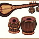 Indian Miniature Painting Veena Tabla Classical Musical Instrument Rajathani Art