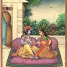Krishna Radha Mehendi Art Handmade Indian Miniature Hindu Krishn Decor Painting