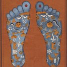 Vishnu Pada Tantric Painting Indian Hindu Handmade Footprint Foot Tantrik Art