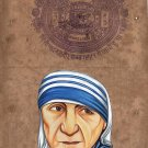 Mother Teresa Art Handmade Indian Miniature Old Stamp Paper Portrait Painting
