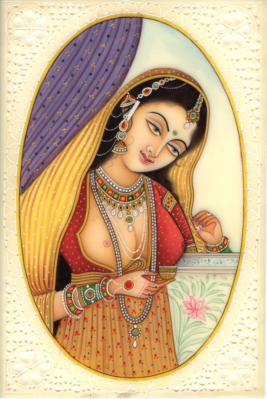 Indian Miniature Painting Handmade Princess Watercolor Portrait Folk Decor Art