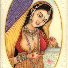 Indian Miniature Painting Handmade Princess Watercolor Portrait Folk Decor Art